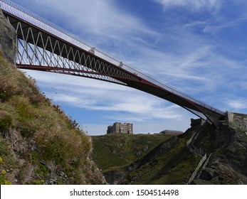 Bridge from the coast to Tintagle Castle, Cornwall