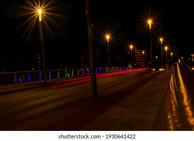 bridge in colorful evening lights