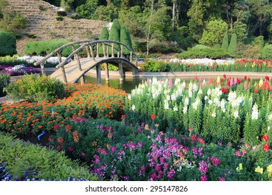 The Bridge with colorful flowers blowing in the wind motion blur at the garden sunny day.