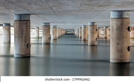 Bridge concrete pilars in Stockholm
