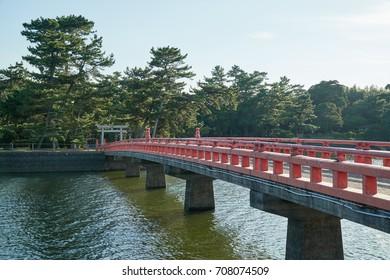 A bridge connect to the Tokiwa Shrine in Tokiwa Park, Ube City.