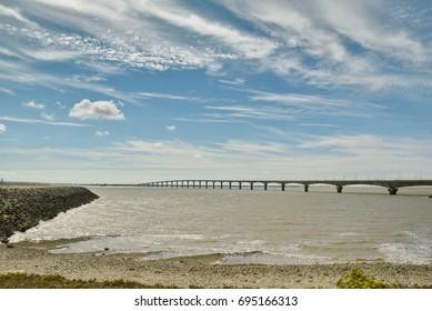 Bridge connecting Isle of Re, to La Rochelle, France