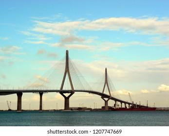 Bridge of the Constitution, called La Pepa, in the bay of Cadiz, Andalusia. Spain