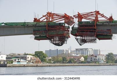 Bridge construction over a river. Bangkok Thailand