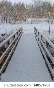 A bridge covered by the recent snow