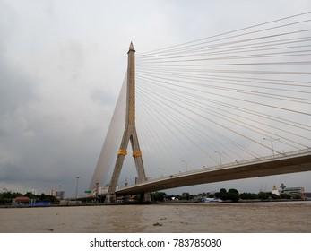 The bridge cross Cha Phraya River, Bangkok Thailand