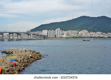The bridge cross to town at Songdo Beach in Busan, Korea