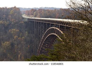 Bridge crossing New River Gorge, WV in beautiful autumn setting.