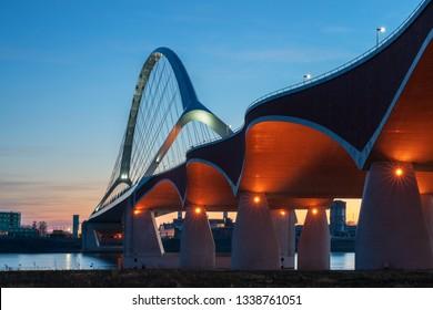 """The bridge """"De Oversteek"""" in Nijmegen, Netherlands."""