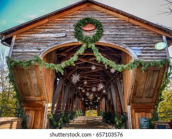 Bridge Decorated for the Holidays in Historic Old Salem, Winston Salem, NC