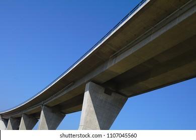 Bridge with deep blue sky