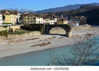 a bridge destroyed on the Piave river in Belluno, Italy