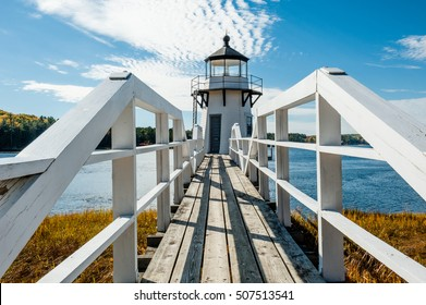 Bridge to Doubling Point Lighthouse, Kennebec River, Arrowsic, Maine