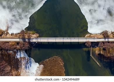 Bridge from drone perspective, Poland, Sztynort