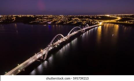 Bridge during sunset in Brasilia, Brazil.