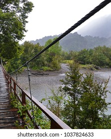 Bridge at the entrance to the Hornopirén national park in Chile South America  (Región de Los Lagos)