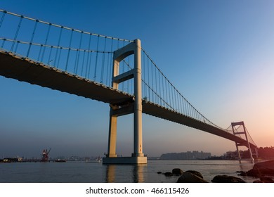 The bridge in the evening sky background