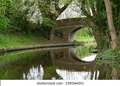Bridge in evening time along the Llangollen Canal  connecting England and Wales, United Kingdom