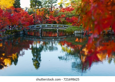Bridge and fall colored trees reflecting in a pond during autumn in Kyoto, Japan