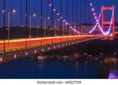 Bridge of Fatih Sultan Mehmet over Bosphorus during twilight