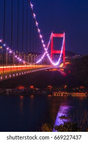 Bridge of Fatih Sultan Mehmet over Bosphorus during twilight