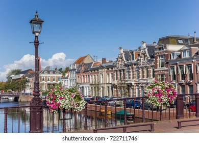 Bridge with flowers in the historic center of Haarlem, Netherlands