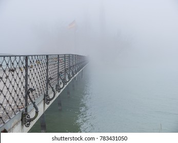 Bridge with fog and lake
