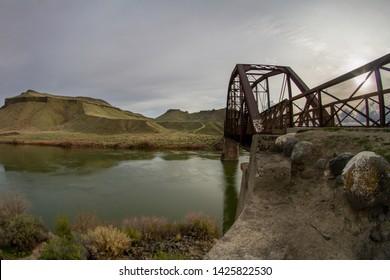 bridge footpath crossing a river