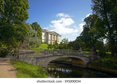 Bridge in front of the Grand Palace in the Park of Pavlovsk south of St. Petersburg, Russian Federation