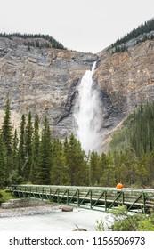 Bridge in front of Takakkaw Falls located at Yoho national park British Columbia Canada