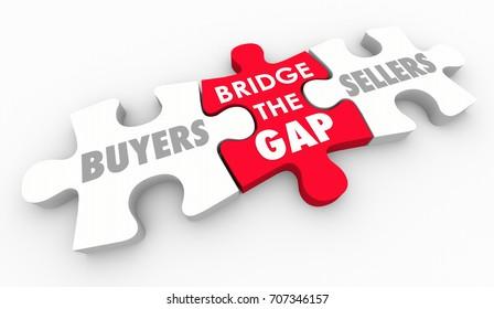 Bridge Gap Between Buyers Sellers Find Customers 3d Illustration