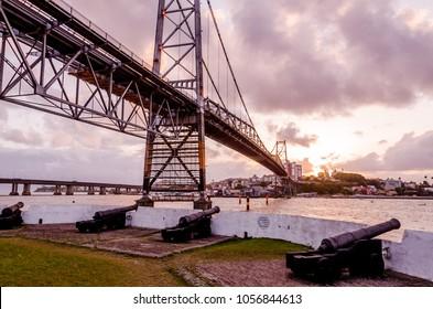 bridge Hercilio Luz, Florianopolis Santa Catarina Brazil, bridge built at the beginning of the 20th century and currently undergoing renovation