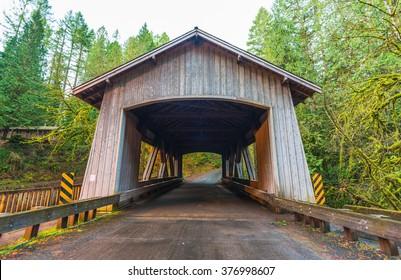 bridge house shape,scene of the Cedar creek grist mill in the morning,Washington,usa.