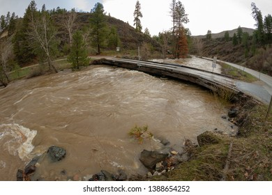 Bridge in idaho that is nearly flooded