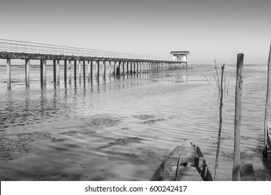 A bridge and lake