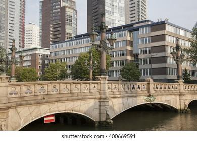 Bridge Lamppost in Rotterdam; Holland