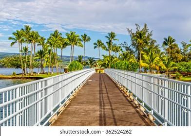 A bridge leads to Coconut Island in Hilo, Hawaii.