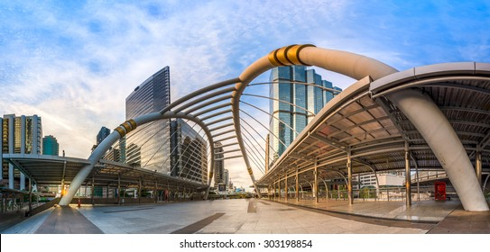 bridge link between mrt and bts mass transportation in heart of bangkok newly modern important land mark of city life in bangkok thailand color process in blue vibrant tone