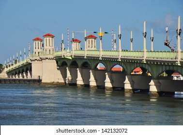 The Bridge of Lions in St Augustine Florida. The  iconic drawbridge bridges the intracoastal waterway and links Anastasia Island and beaches in St Augustine Florida