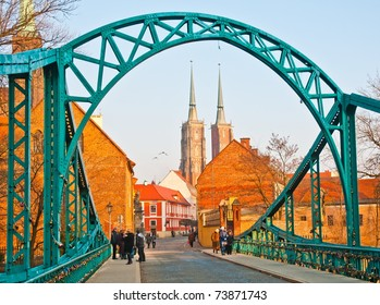 Bridge of lovers and cathedral in Wroclaw, Poland