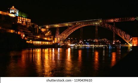 Bridge Luis I at night in Porto, Portugal