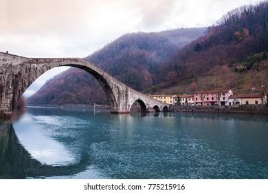 Bridge of Mary Magdalene near Borgo a Mozzano (Lucca), Tuscany Italy