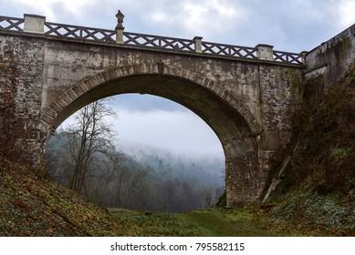 Bridge of the medieval castle Veveri in winter, near Brno, Moravia, Czech Republic