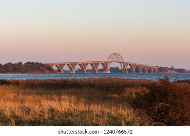 Bridge of Moen Island in Denmark at golden hour just before sunset