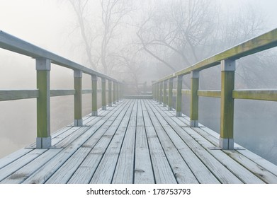 bridge in morning mist