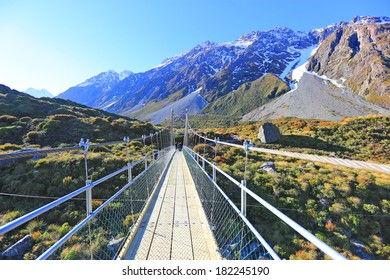 Bridge to the mountain in Mt. Cook National Park, New Zealand