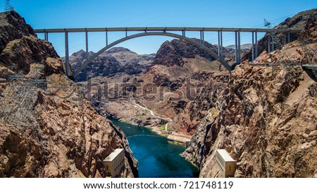 Bridge near Hoover Dam in United States of America. Hydroelectric power station on the border of Arizona and Nevada. Hoover Dam is very famous tourist attraction for travelers.