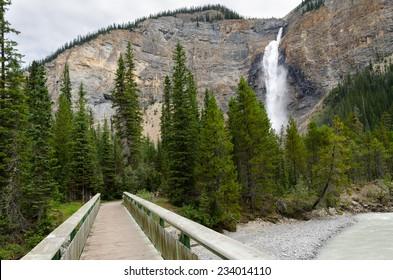 bridge near the Takakkaw waterfall in Banff in Canda