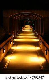 Bridge at night in Centennial Campus, NC State University
