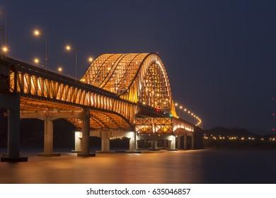 Bridge at Night of Han river in Seoul City,Korea.